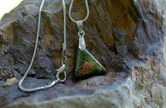 Unakite pendant healing energy stone triangle charm by SAGaStone