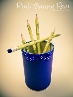 Pencils & Can makeover Bunny Paws, Planter Pots, Pencil, Diy Crafts, Canning, Projects, Pink, Log Projects, Blue Prints