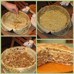 Ingrédients:   Crêpes:  250 gr farine  4 oeufs  1/2 litre de lait  1 c c sel  3 c s d'huile ou de beurre fondu froid.  Farce: 200 gr de...