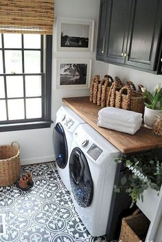Practical Home laundry room design ideas 2018 Laundry room decor Small laundry room ideas Laundry room makeover Laundry room cabinets Laundry room shelves Laundry closet ideas Pedestals Stairs Shape Renters Boiler Laundry Room Tile, White Laundry Rooms, Rustic Laundry Rooms, Laundry Room Cabinets, Basement Laundry, Farmhouse Laundry Room, Laundry Room Organization, Room Tiles, Laundry Room Design