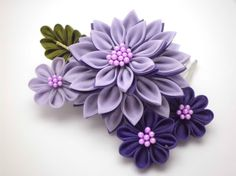 Purple Dahlia Bouquet Kanzashi Hair Comb/ Bridal by JagataraArt