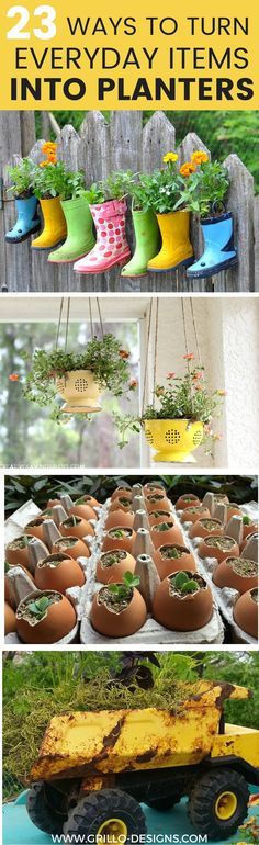 23 Repurposed Planter Ideas For Your Home Garden Planters Ideas of Planters et creative with your gardening and browse these unusual but very awesome planter ideas Se. Diy Planters, Garden Planters, Planter Ideas, Cement Planters, Fall Planters, Diy Garden, Garden Crafts, Container Gardening, Gardening Tips