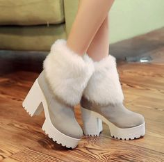 Vintage Women Roman Winter Ankle Boots Chunky Heel Platform Fur Trim Us4-11 Pump