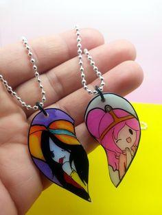 Marceline & Princess Bubblegum Best friends Necklace
