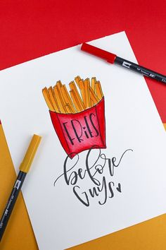 Learn how to make your own Fries Before Guys piece of hand lettered art with this Galentine's Day tutorial!
