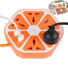 49% de descuento PowerCube Socket UE Plug 4 Salidas + 4 Puertos USB Adaptador de Corriente Tira 1.7 M Cable de Extensión de Múltiples cambió el Zócalo Para El Hogar