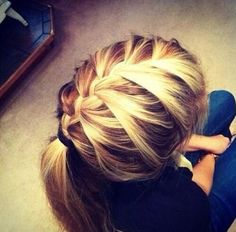 French braid into ponytail I want to do this!