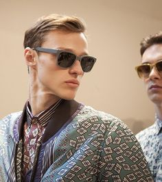 Graphic prints and Splash Sunglasses backstage at the Burberry show