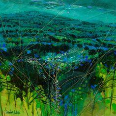 Deborah Phillips_Turquoise Hillside Dusk_Hand Embellished Signed Limited Edition_15x15