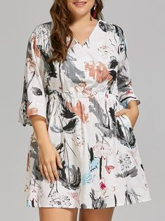3f60313cbcd Plus Size Ink Painting Linen Dress with Flare Sleeves in White 4xl