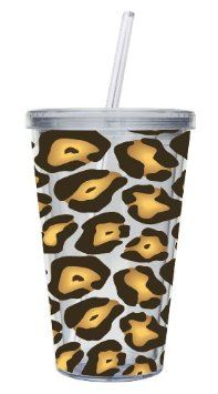Cypress Home 17-Ounce Insulated Cup With Lid and Straw, Leopard, $9.99