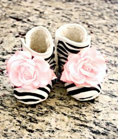 Boutique Zebra Baby Girl Booties Little Girls Shoes Ballet Pink flower Non Skid Newborn Infant- Children - Baby Shower Gift