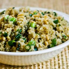 Quinoa side dish.  I made this earlier in the week and the husband loved it.  Said he could just eat a whole bowl of it.  I didn't have pine nuts on hand and the dish was still yummy in my tummy.