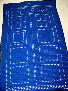 Filet Tardis in Worsted Weight 31x49 by Sandra Petit  Free Pattern: http://www.ravelry.com/patterns/library/filet-tardis #TheCrochetLounge #DrWho Collection