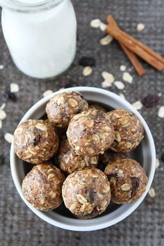 No-Bake Oatmeal Raisin Cookie Energy Bites Recipe These easy oatmeal raisin cookie energy bites only take minutes to make and are a great healthy snack or dessert.