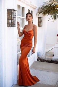 Golden Rust Satin Cowl Neckline Formal/Prom Dress - Alamour The Label Orange Formal Dresses, Orange Dress, Orange Ball Dresses, Gala Dresses, Satin Dresses, Satin Gown, Elegant Dresses For Women, Beautiful Dresses, Elegant Evening Dresses