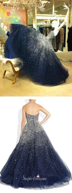 prom dress, navy long prom dress, strapless prom dress, beaded long prom dress