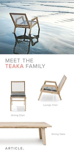 Not only is it durable enough for the outdoor elements, but teak will also age into a beautiful silvery gray color over time.