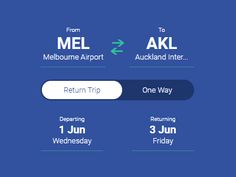 Flight App - Return / Depart Toggle Interaction by Hannah Fiala