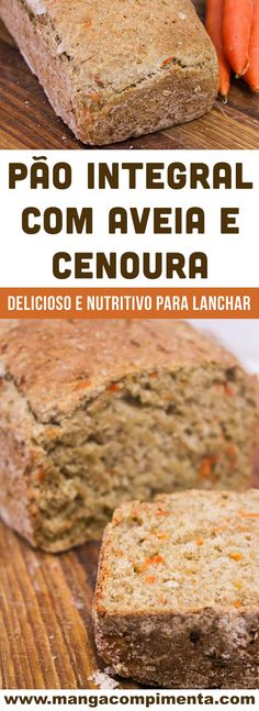 Whole Wheat Bread with Oats and Carrots - Whole Wheat for nutritious breakfast or afternoon snack! Breakfast Bake, Best Breakfast, Healthy Afternoon Snacks, Nutritious Breakfast, Vegan Bread, Vegan Appetizers, Chef Recipes, Love Food, Food And Drink
