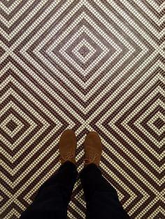 """ Opus Romano Wenge Marrone decoration was laid 10 years ago here in the showroom! Tile Art, Tiles, Washroom Vanity, Animal Print Rug, Kitchen Remodel, Flooring, London, Mosaics, 10 Years"