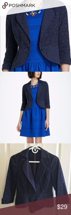 Leifnotes Spun Eyelet Blazer Navy Blue Size 2 LEIFNOTES SPUN EYELET BLAZER:  For a look that's both tailored and plucky, try a cropped blazer, like this one from LeifNotes.  With its slim fit, three-quarter sleeves and dozens of dots, this jacket goes from day to dinner  as quickly as you can slip on heels and a statement cuff.  Button closure Front pockets 100% Cotton Unlined Machine wash Imported  Size 2.  About 16 inches from armpit to armpit.  About 20 inches from shoulder to hem…