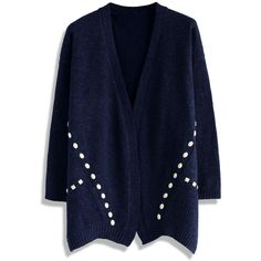 Chicwish Beads Decorated Knitted Cardigan in Navy ($53) ❤ liked on Polyvore featuring tops, cardigans, blue, navy cardigan, navy blue cardigan, blue top, blue cardigan and open front cardigan