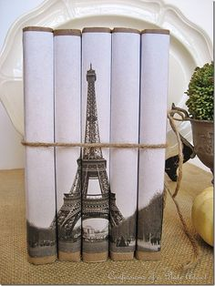 Bookcovers for Eiffel Tower Book Bundle DIY tutorial  vintage books, tower, photo books, cover books, pari, diy craft, craft book, book covers, old books