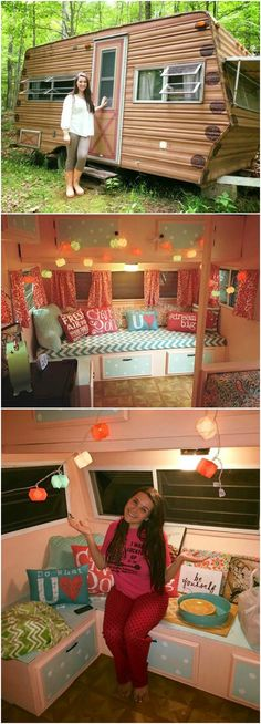 """Fourteen-year-old Ellie Yeater of Williamstown, WV, used her summer break to renovate a 1974 Wilderness camper into her very own """"glamper""""! Glamping is making camping a bit less rustic and a lot more glamorous, and Ellie's camper transformation does not disappoint."""