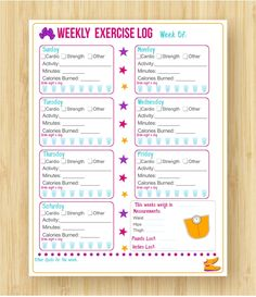 Printable Exercise Log! I love it, and it will help keep me motivated to exercise