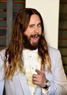 Pin for Later: Jared Leto Really Wanted to Be Jennifer Lawrence at the Oscars This Year He Mixed It Up With the Age-Old Wink and Finger Gun Combo