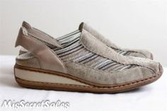 RIEKER COMFY LEATHER SUEDE SUMMER BREATHING FLATS SHOES IN BEIGE SLINGBACK SZ 7