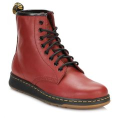 Dr Martens Cherry Red Newton 8 Eye Boots (€120) ❤ liked on Polyvore featuring shoes, boots, ankle booties, leather upper boots, light weight boots, dr martens boots, dr. martens and lightweight boots