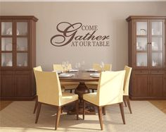 Family Vinyl Wall Decal - Come Gather At Our Table Kitchen Wall Quote Saying Home Wall Decal 15Hx36W FS325