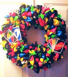 "Chase's ""UNO"" Birthday wreath"