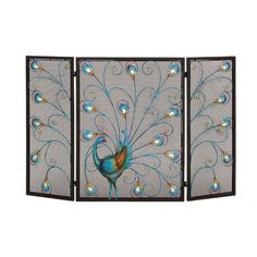 "Features:  -Multicolored, peacock design.  -Made from metal.  Product Type: -Fireplace screen.  Finish: -Multi-Colored. Dimensions:  Overall Height - Top to Bottom: -32"".  Overall Width - Side to Side"