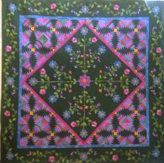 QGBTS 2015 raffle quilt!  Green Garden  Fantasy. Made by Melinda S., MC, Lee H and myself, hand appliqué and paper pieced. Won Best of Show and First Place Mix Media at the Vero Beach Quilt Show. Pattern designer is Karen Kay Buckley. Drawing will be May 12 2015.
