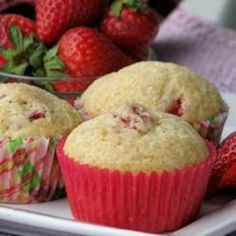 Strawberry Muffins - 125 calories: substitute 1/3 c applesauce for oil; add 1/4 c br sugar, 1/2 tsp vanilla, 1/2 tsp cinnamon; decrease flour to 1 1/2 cup.  Makes 12 muffins.