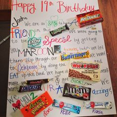19th birthday candy card!
