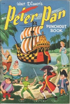 Unmade paper model showing Walt Disney's Peter Pan Punchout Book, made in the USA by Whitman in Museum Number Disney Vintage, Vintage Disney Posters, Disney Movie Posters, Cartoon Posters, Old Disney, Vintage Comic Books, Vintage Cartoon, Vintage Comics, Disney Art