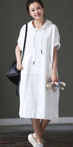 LOOSE HOODIE LONG DRESSES WOMEN SUMMER COTTON CLOTHES Q8820