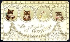 Kittens Drinking Tea by Helena Maguire ~ Vintage Christmas postcard