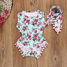 33a04ea5026f Vintage Wild Flower Romper   Head Wrap – Baby Buttons Boutique Boy  Clothing