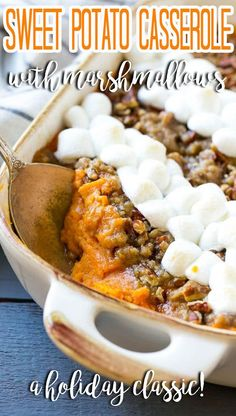 This recipe for sweet potato casserole with marshmallows is mashed spiced sweet potatoes, topped with both a pecan streusel topping and plenty of mini marshmallows. Mashed Sweet Potatoes, Sweet Potato Casserole, Streusel Topping, Mini Marshmallows, Pecan, Christmas Time, Side Dishes, Spices, Pasta