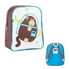 "Dieter the Space Monkey Coated Canvas Little Kids Backpack by #BeatrixNY - Embroidered with beloved creatures, these sturdy little packs hold everything a child needs for a busy day. Constructed from durable nylon and easy-to-clean laminated canvas. The large interior contains a smaller zipped pocket. Padded back panel and padded shoulder straps. Designed for ages 2 to 5. PVC free, lead free, & phthalate free. (9 x 12 x 5.5"")"