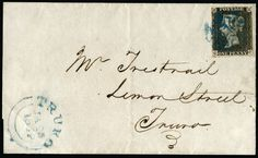 1840 SG2 Pl.1b Penny Black on cover with blue Maltese cross from Truro