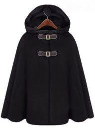Single breasted with PU leather buckles woolen blend hooded cape