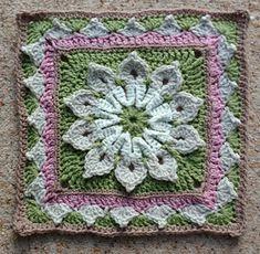 Ravelry: Simple 10-Petal Afghan Square pattern by Joyce D. Lewis Crochet Flower Squares, Crochet Square Blanket, Crochet Squares Afghan, Crochet Mandala Pattern, Granny Square Crochet Pattern, Afghan Crochet Patterns, Knitting Patterns, Free Knitting, Bag Crochet