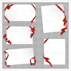 Christmas paper vectors with red bows