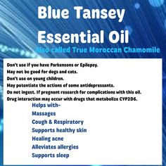 Blue Tansy Essential Oil by DōTERRA Blue Tansy Essential Oil, Doterra Essential Oils, Home Remedies, Drugs, Essentials, Health, Health Care, Home Health Remedies, Natural Home Remedies
